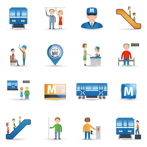 Subway icons set Free Vector