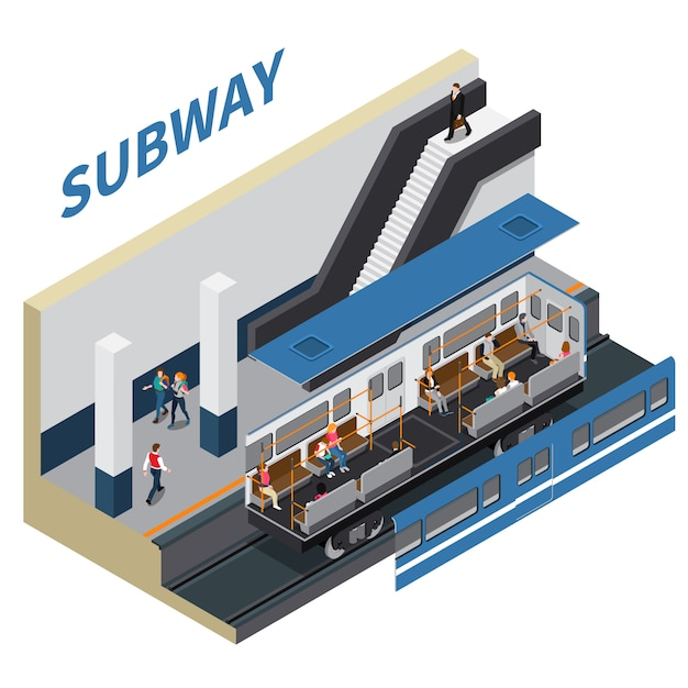 Subway isometric composition Free Vector
