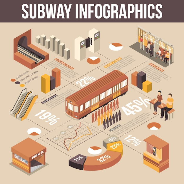 Subway isometric infographics Free Vector