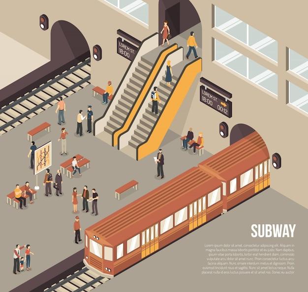 Subway metro underground station isometric poster Free Vector