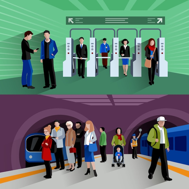 Subway passengers Free Vector