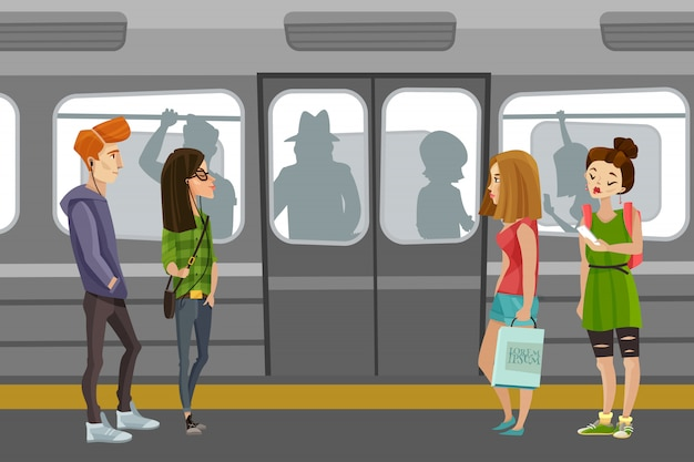 Subway people background Free Vector