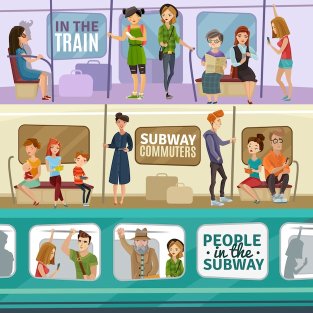 Subway people banners set Free Vector