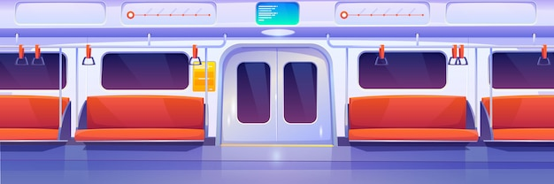 Subway train car, metro wagon interior Free Vector