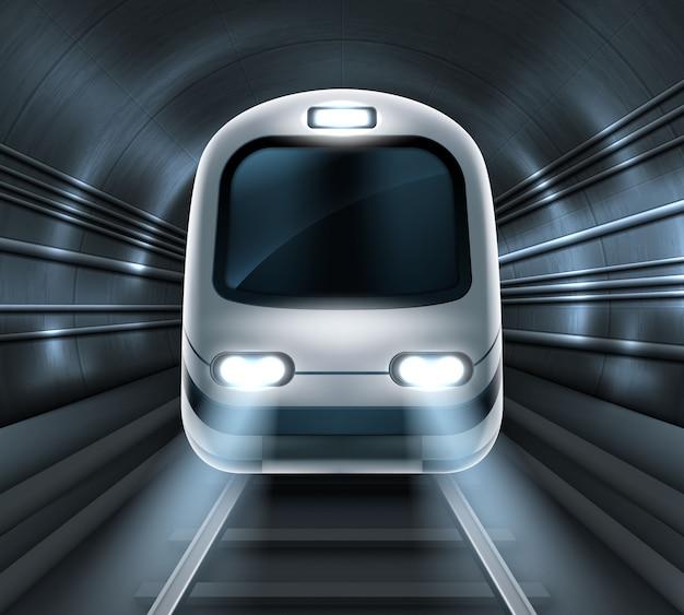 地下鉄トンネル正面の機関車の地下鉄 無料ベクター