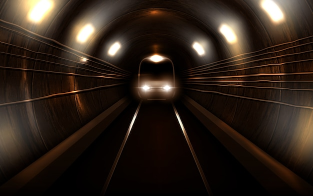 Subway train in metro tunnel front view locomotive Free Vector