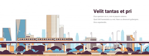 Subway train over modern city panorama high skyscrapers cityscape Premium Vector