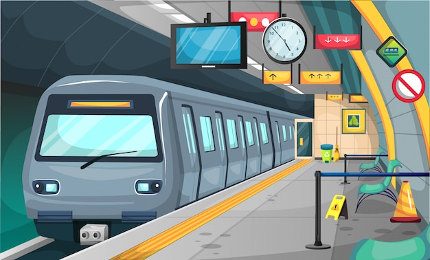 Subway train station with floor and stop sign, chairs, recycle trash, broom, big clock and tv time Premium Vector