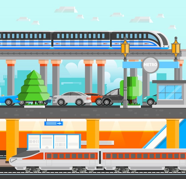Subway underground illustration Free Vector