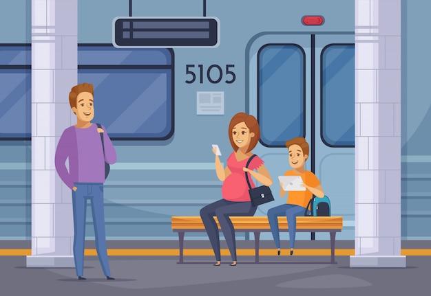 Subway underground people cartoon composition Free Vector