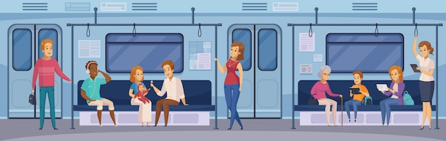 Subway underground train passengers cartoon Free Vector