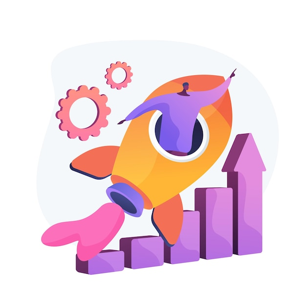 Success achievement. career aspiration, job promotion, personal growth. motivated worker, businessman flying in rocket, motivation and determination. Free Vector
