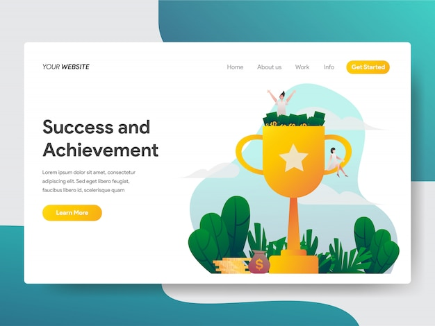 Success and achievement for website page Premium Vector