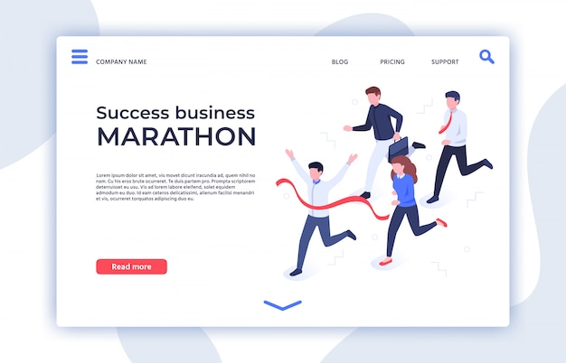 Success business marathon. successful startup, businessman winner and professional triumph landing page isometric  illustration Premium Vector