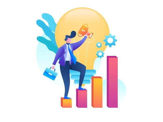 Success businessman illustration Premium Vector