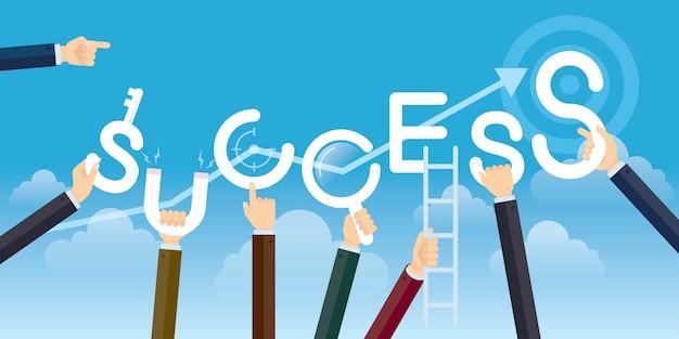 Success concept, hands holding the word success, vector illustration flat. Premium Vector