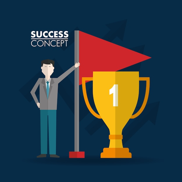 Success concept winner card Premium Vector