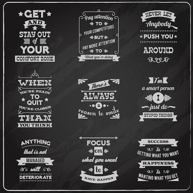 Success quotes set chalkboard Free Vector