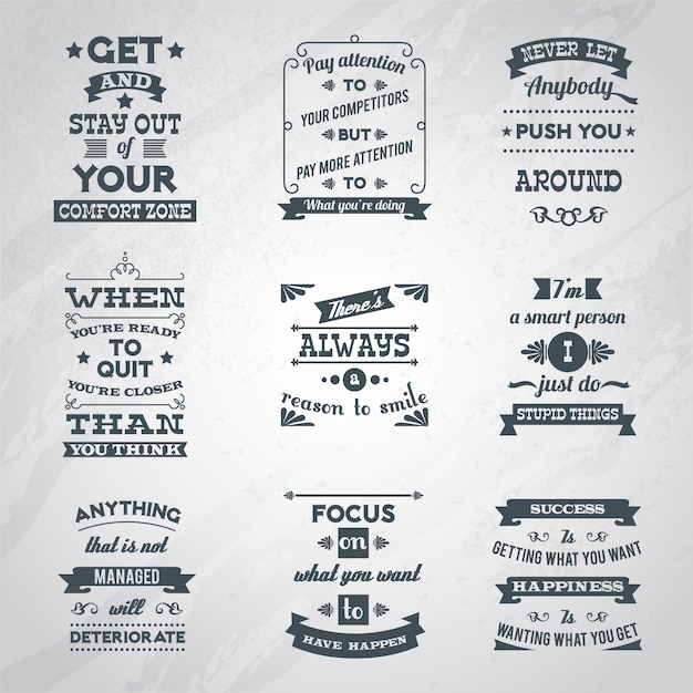 Success quotes set Free Vector