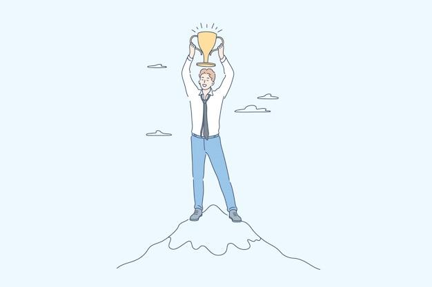 Success, win, celebration, goal achievement, business concept Premium Vector