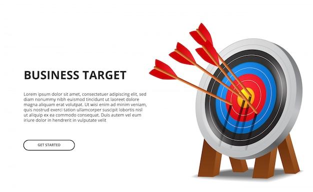 3dターゲットボード上のアーチェリーの成功矢印。ビジネス目標達成 Premiumベクター