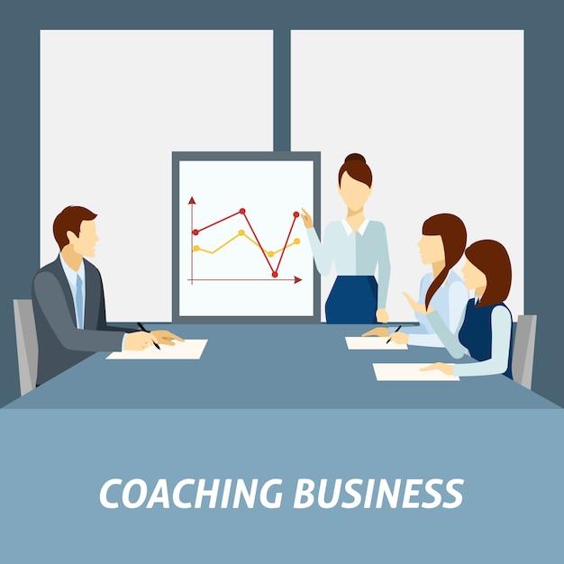 Successful business coaching poster Premium Vector