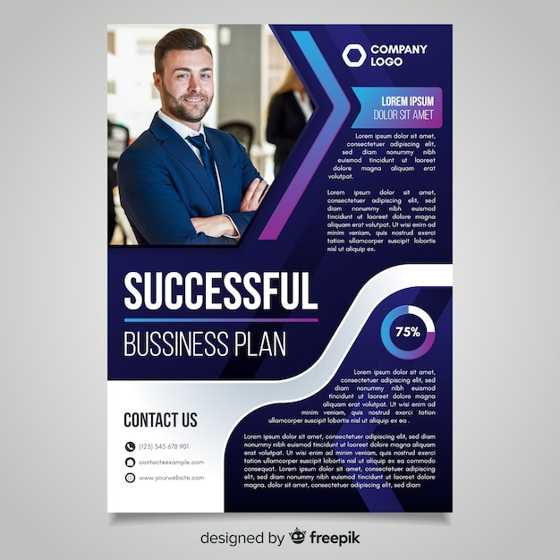 Successful business flyer template with photo Free Vector