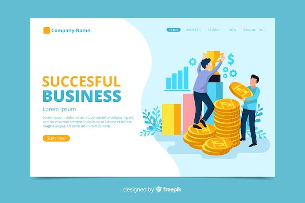 Successful business landing page Free Vector