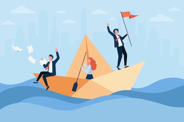 Успешный руководитель бизнеса с парусной лодкой флага, его команда с веслом. коллеги и начальник путешествуют в океане возможностей. Бесплатные векторы