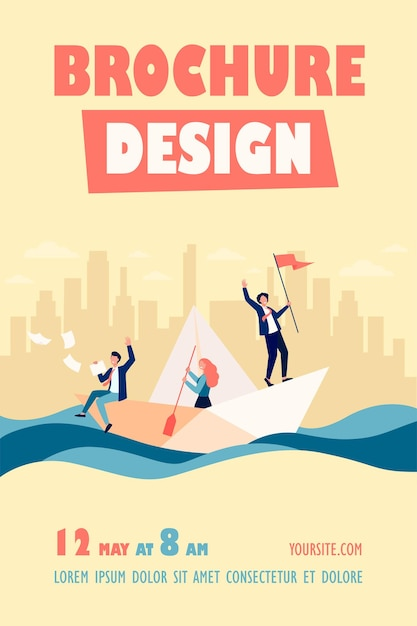 Successful business leader with flag sailing boat, his team using paddle flyer template Free Vector