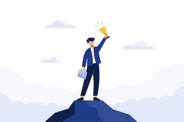 Successful business man holding a trophy Free Vector