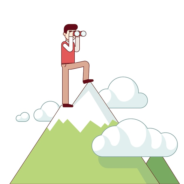 Successful business man standing at mountain top Free Vector