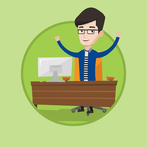 Успешный деловой человек векторные иллюстрации. Premium векторы