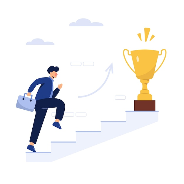 Successful business man with a trophy Free Vector