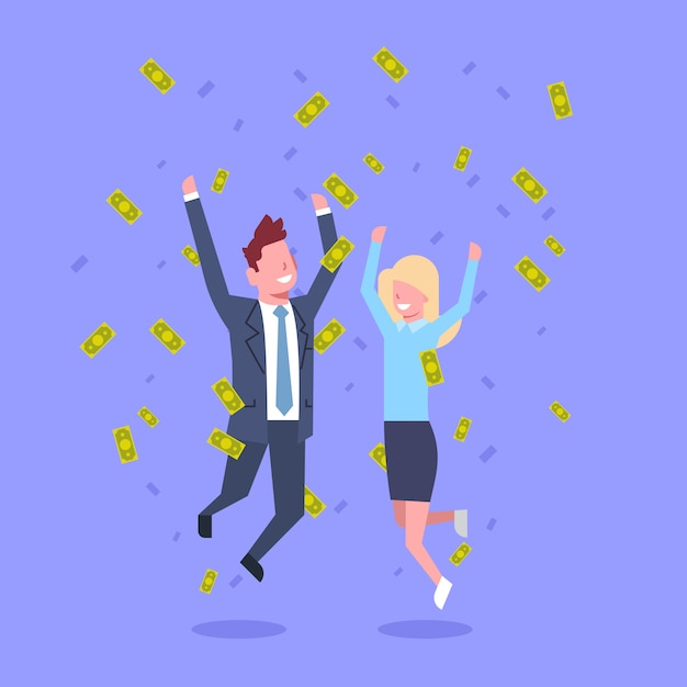 Successful business man and woman jump throwing money rich businessman and businesswoman financial success concept Premium Vector
