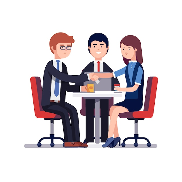 Successful business meeting or job interview