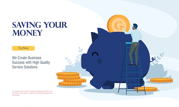 Successful business saving money with flat design concept Premium Vector