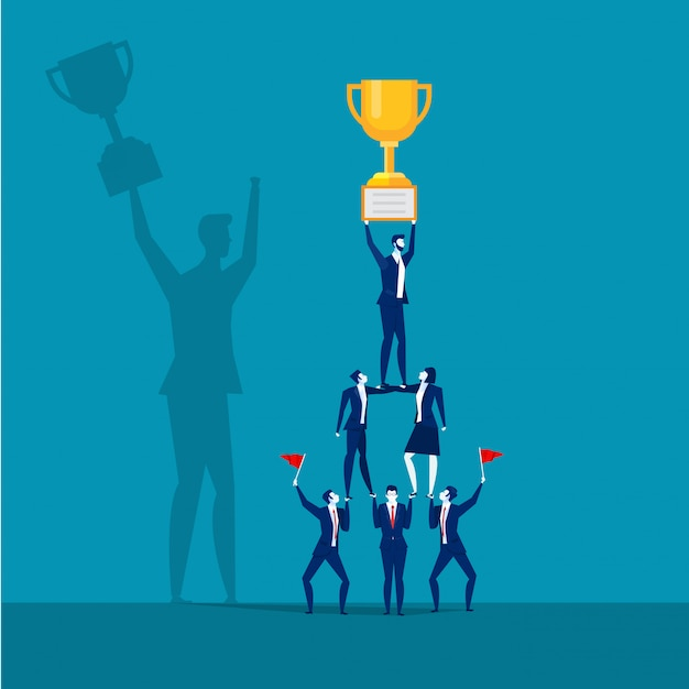 Successful business team holding trophy. Premium Vector