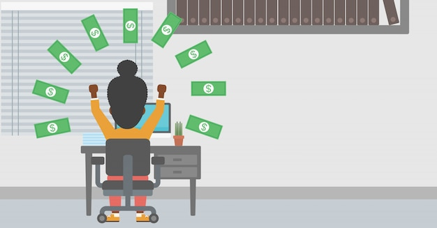 Successful business woman under money rain. Premium Vector