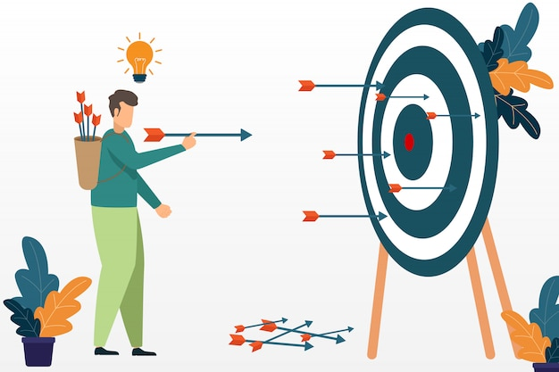 Successful businessman aiming target with bow and arrow. business success concept. target and opportunities. Premium Vector