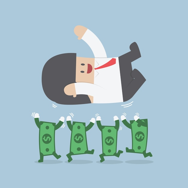 Successful businessman being throwing up by dollar bill Premium Vector