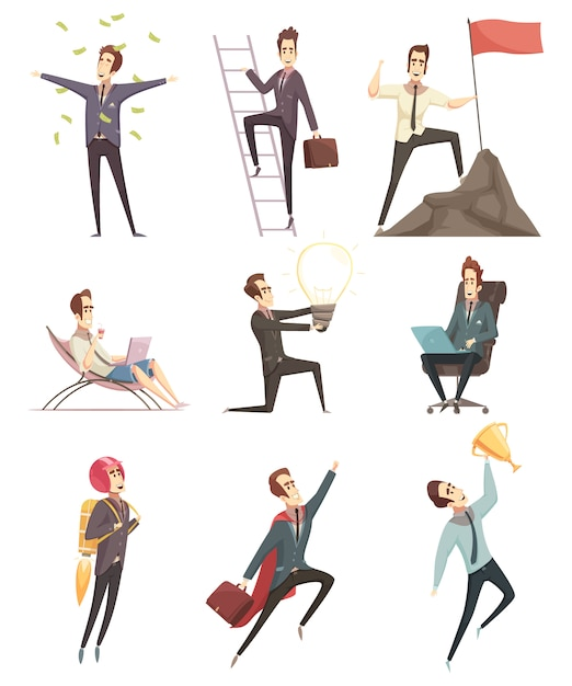 Successful businessman cartoon icons collection Free Vector