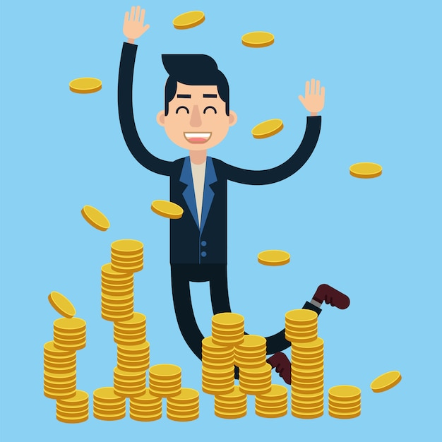 Successful businessman celebrates big money deal Premium Vector