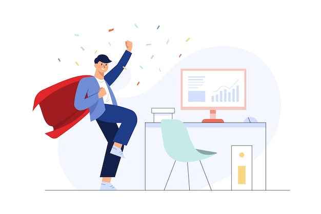 Successful businessman celebrating a victory. Free Vector