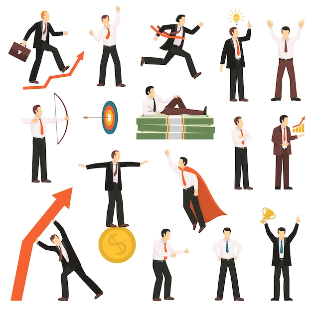 Successful businessman flat icons collection Free Vector