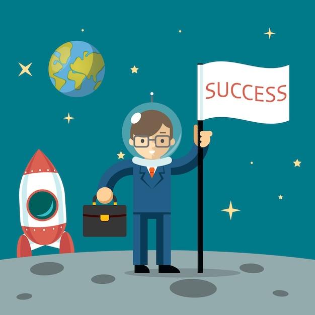 Успешный бизнесмен получает луну с флагом и чемоданом. векторная иллюстрация Бесплатные векторы