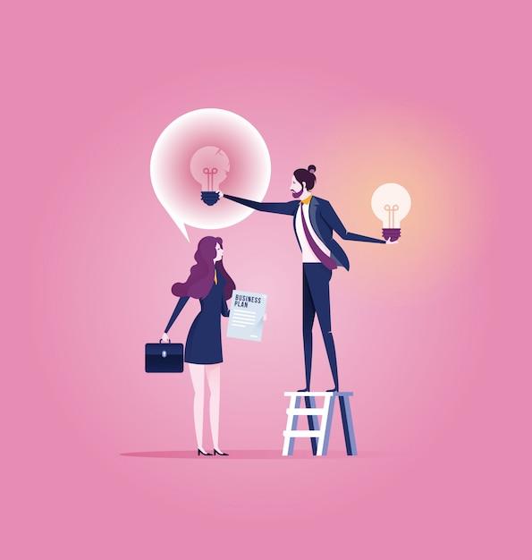 Successful businessman give another businesswoman new idea bulb Premium Vector