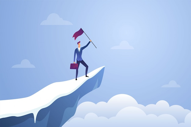 Successful Businessman Holding A Flag On Top Mountain Symbol Of Success Achievement Victory Top Career And Leadership Flat Illustration Premium Vector