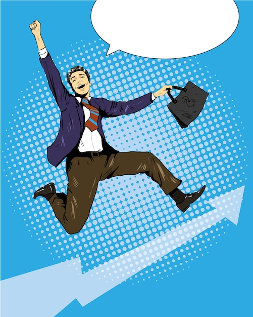 Successful businessman jumping with suitcase Premium Vector