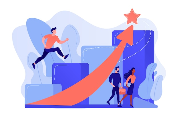 Successful businessman running up the career stairs and rising arrow to a star Free Vector